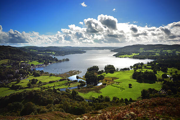 Lake Windermere Taken on a walk over Loughrigg Fell. cumbria stock pictures, royalty-free photos & images