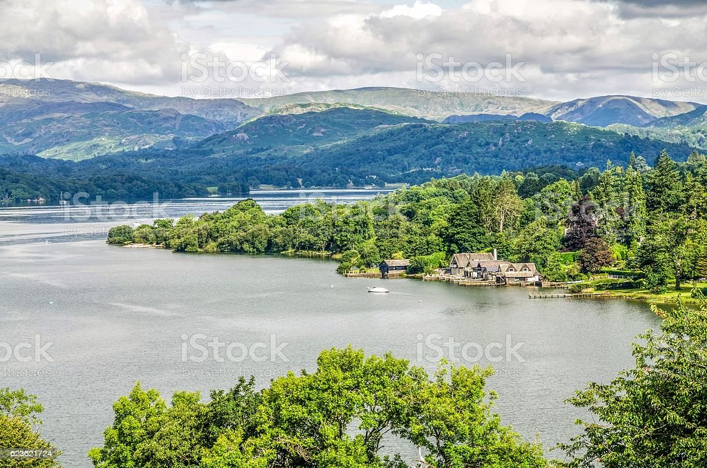 Lake Windermere with boathouses stock photo