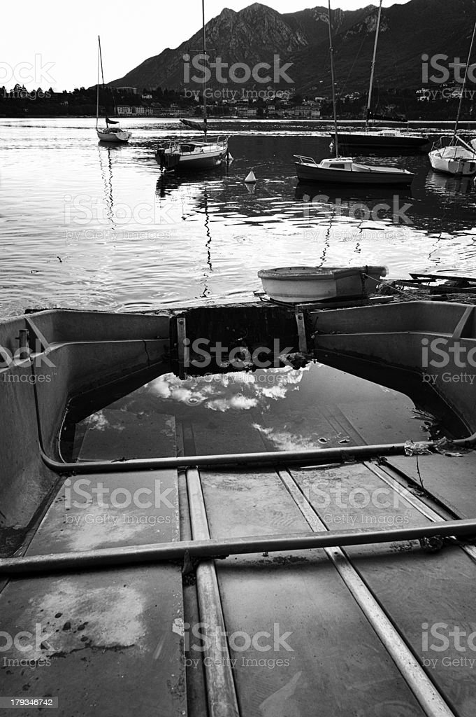 Lake with boat. Black and White royalty-free stock photo