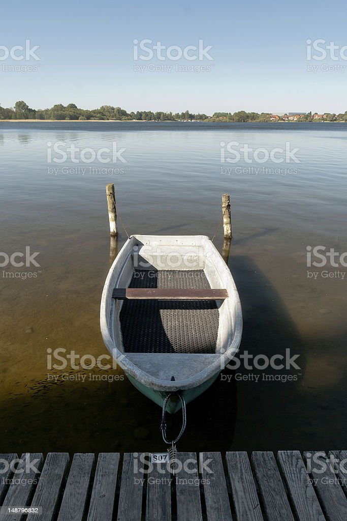 Lake with Boat stock photo