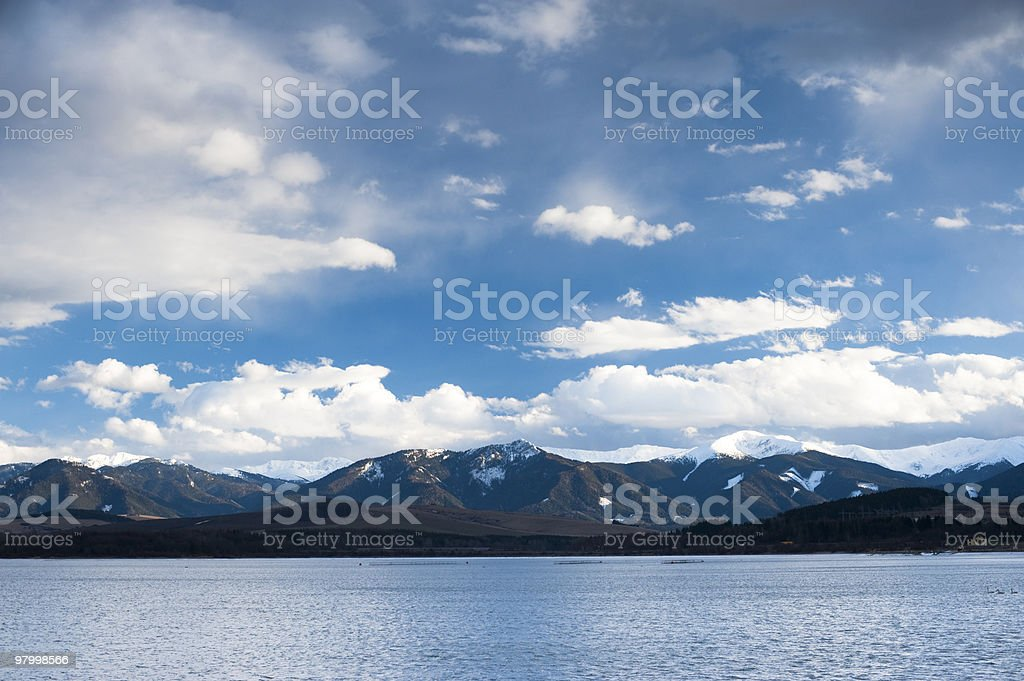 Lake with clouds royalty free stockfoto
