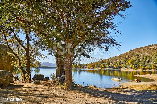 Goldwater lake dam in pine trees in Prescott, Arizona