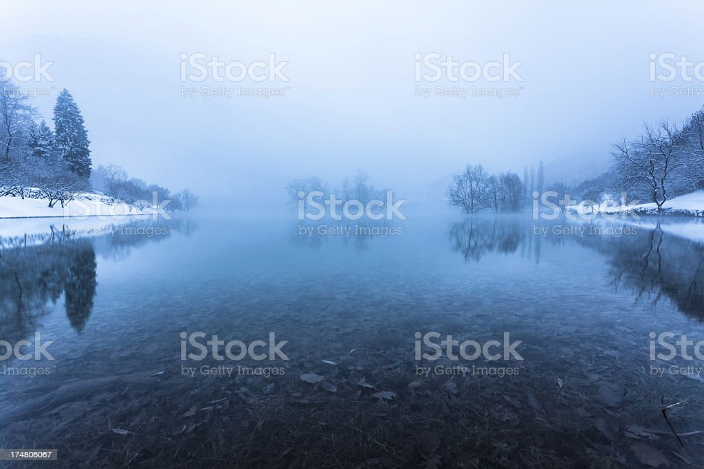 Lake with Fog and Snow, Winter Landscape royalty-free stock photo