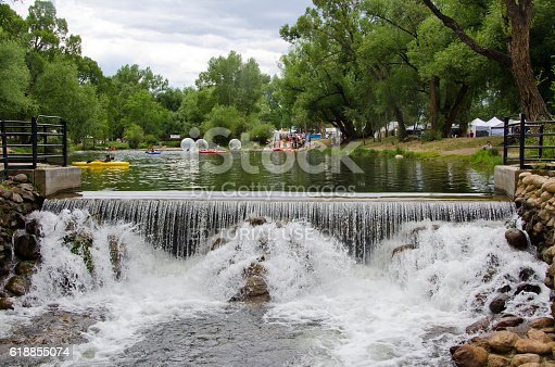 Buena Vista, United States - August 1, 2015: During a town festival, the lake in Buena Vista, Colorado is full of kayakers and kids