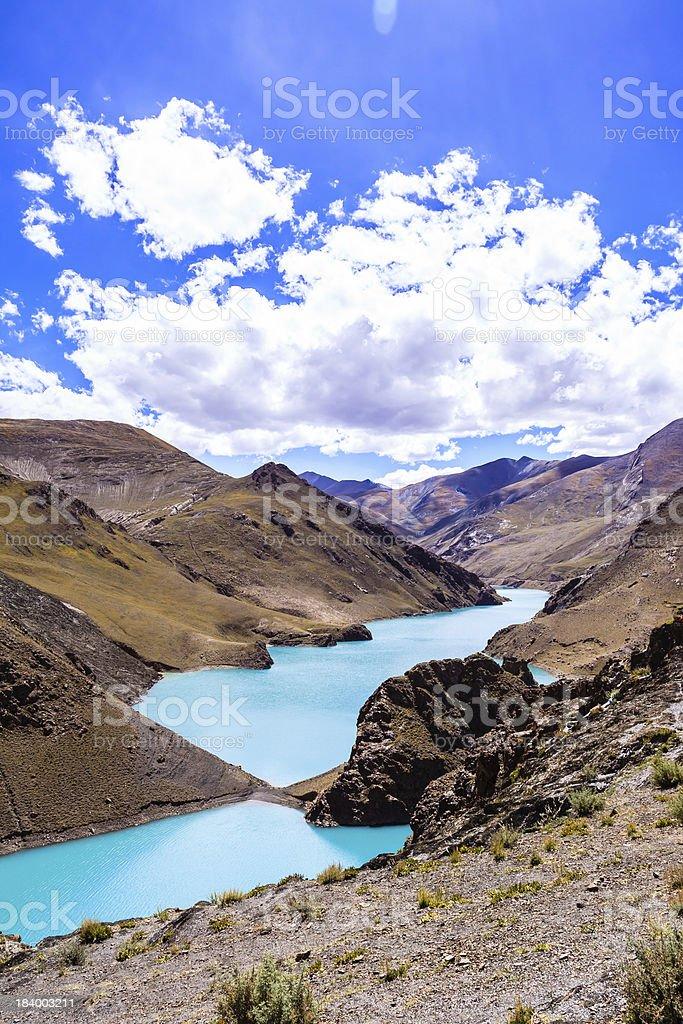 Lake with mountain stock photo