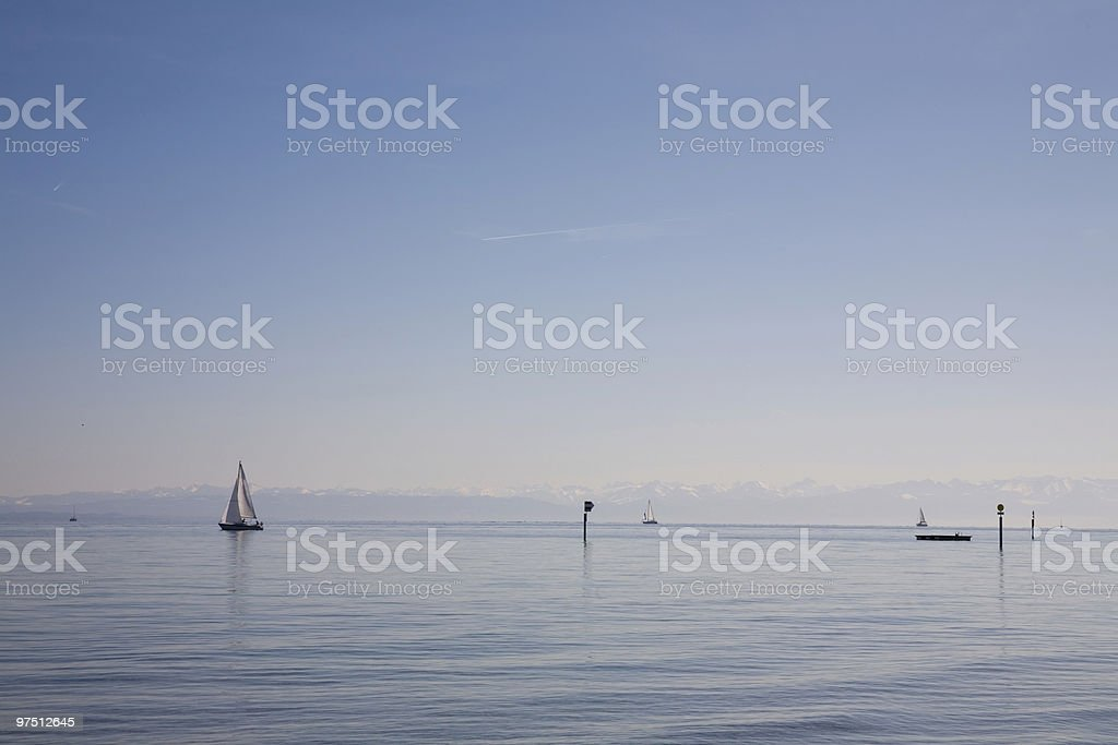 Lake with sailingboats royalty-free stock photo