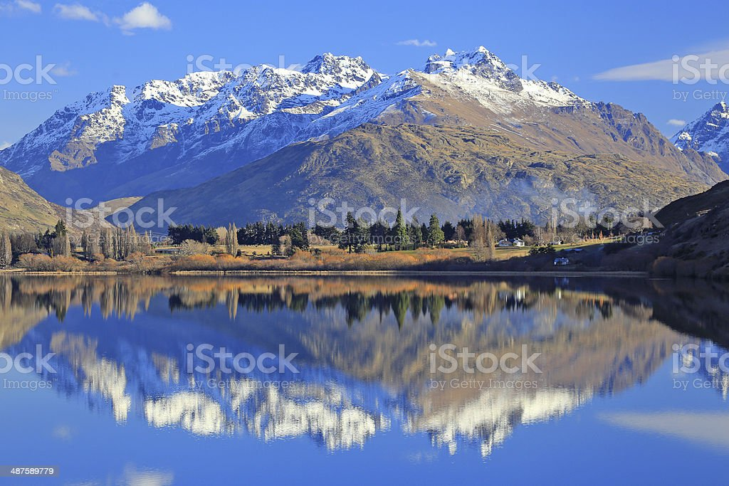 Lake with snow mountain reflections stock photo