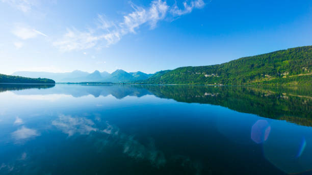 Lake Wolfgangsee, Salzkammergut, Austria, at sunrise stock photo