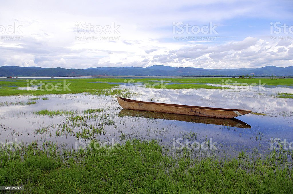 Lake wooden boat royalty-free stock photo