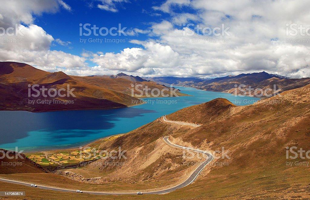 Lake Yumdrok Yumtso royalty-free stock photo