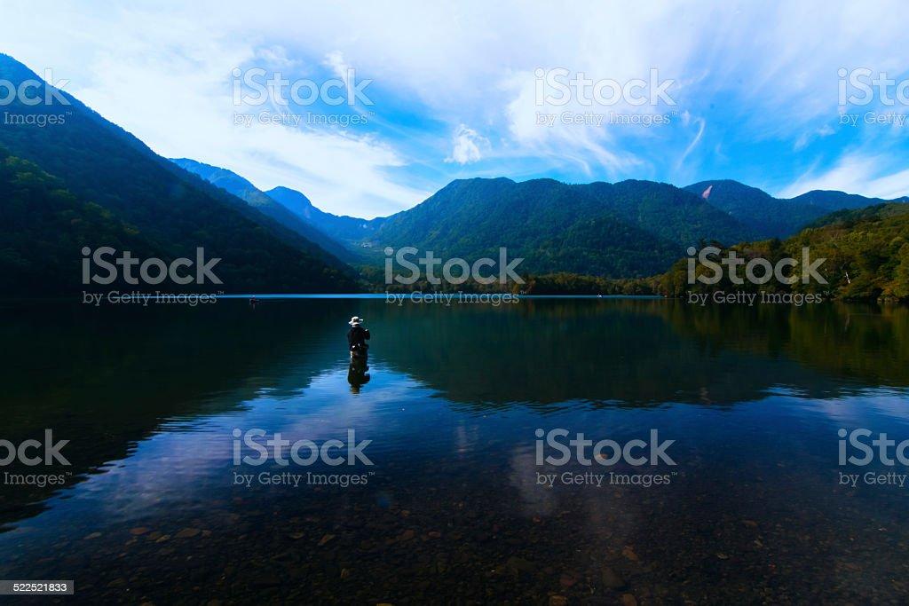 Lake Yunoko  and the blue sky stock photo