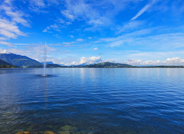Lake Zug in Switzerland Lake Zug in Switzerland, view from the city of Zug in summertime. zug stock pictures, royalty-free photos & images