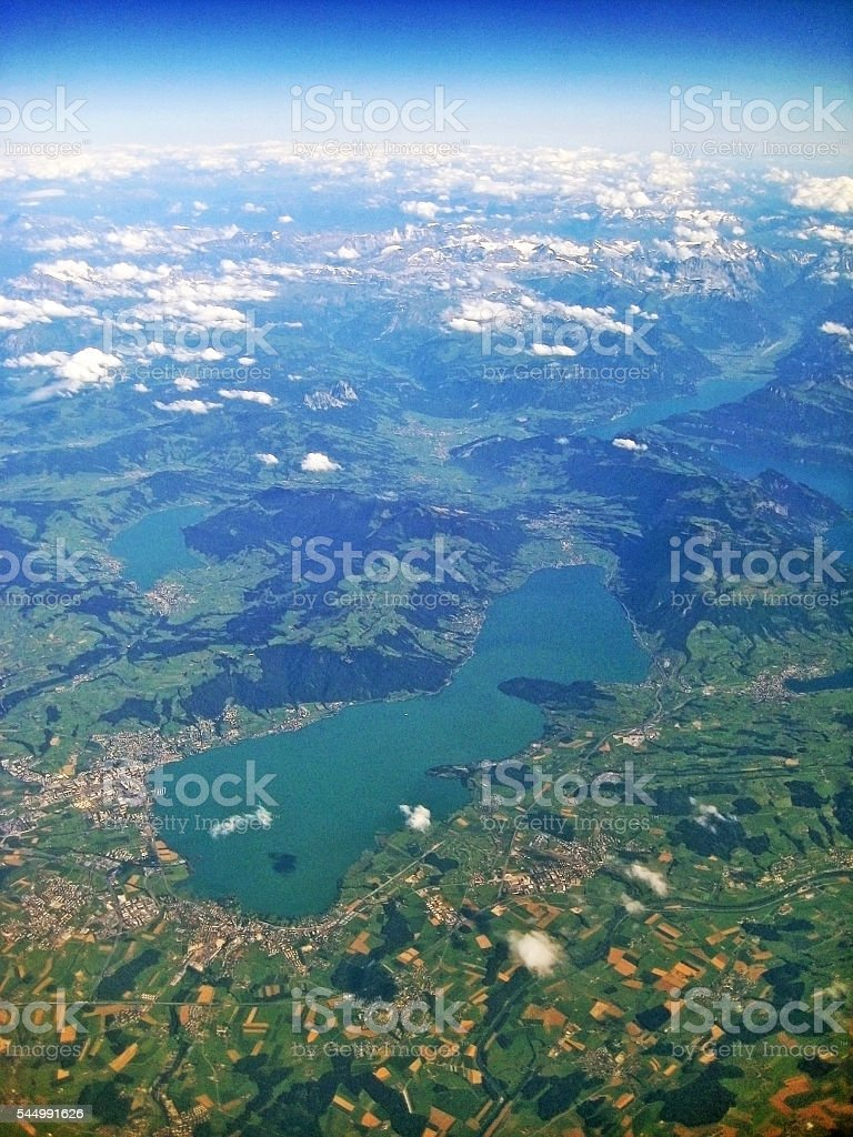 Lake Zug / Zugersee, Switzerland - aerial view stock photo