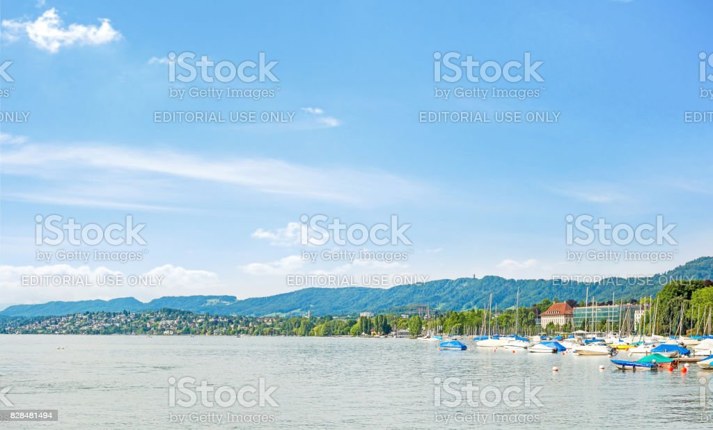 Lake Zurich panorama stock photo