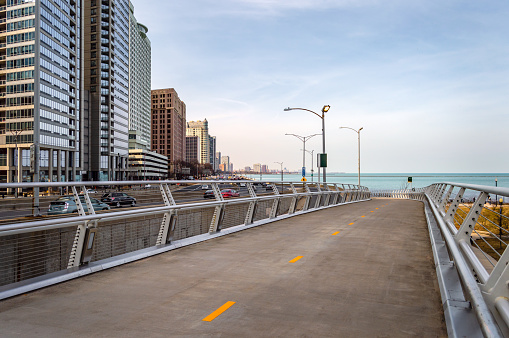 Lakefront Flyover path along Lake Shore Drive in Chicago. Main streets in Illinois.