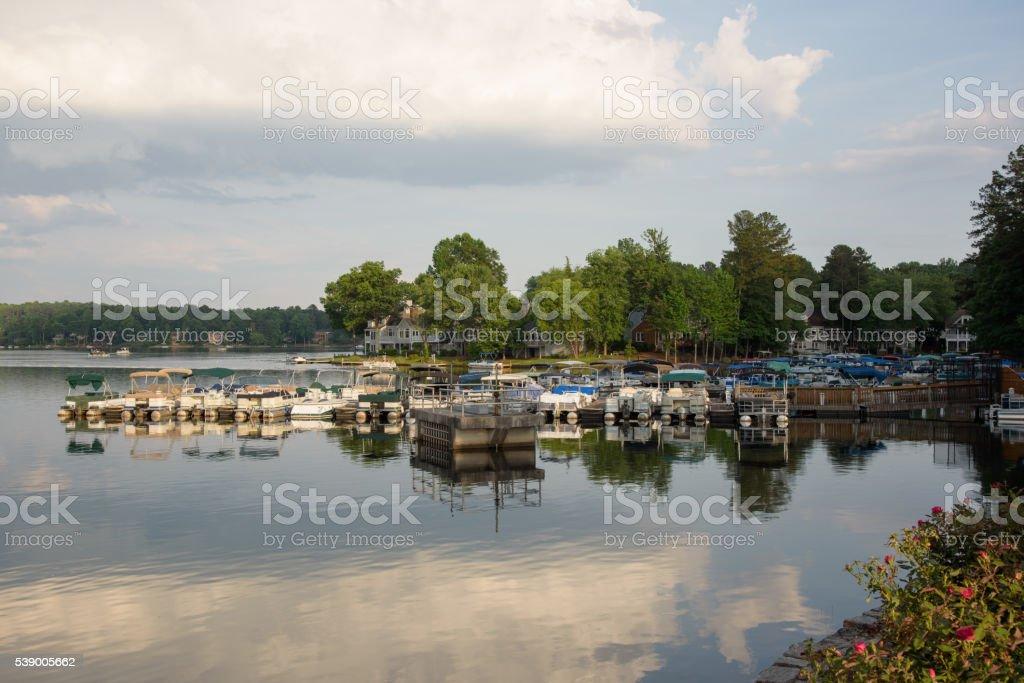 Lakefront harbor in Atlanta Georgia Suburbs stock photo