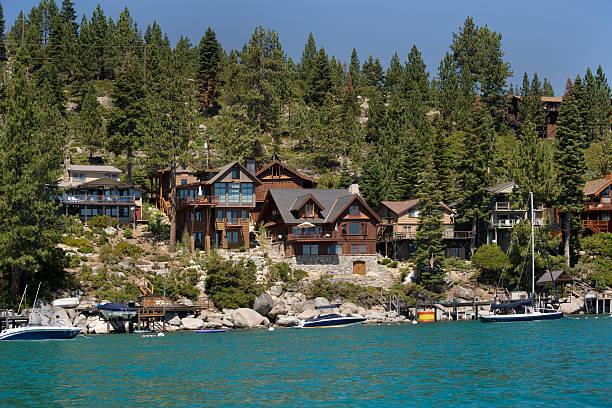 Lakefront Homes, California stock photo