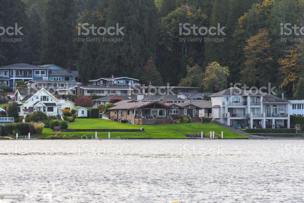 Lakefront homes, WA stock photo