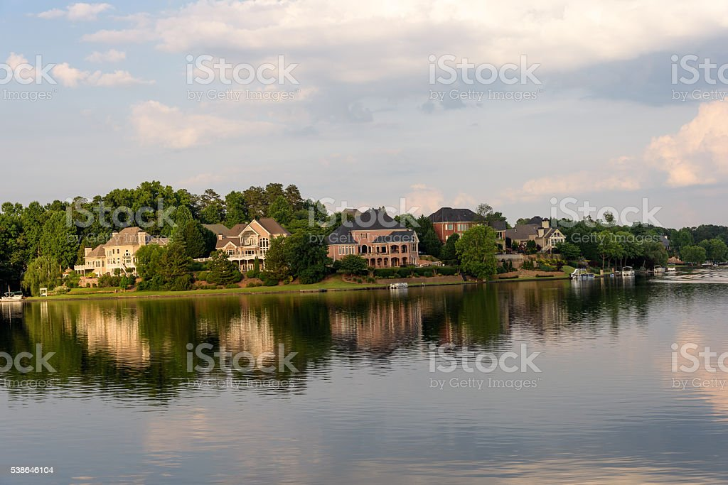 Lakefront houses in Atlanta stock photo
