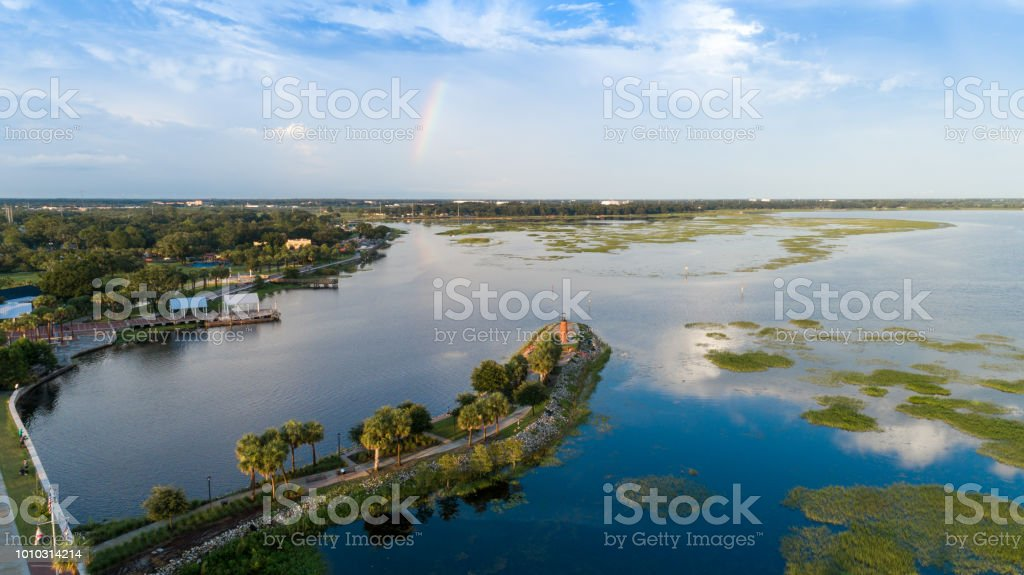 Lakefront Kissimmee Drone Aerial View stock photo