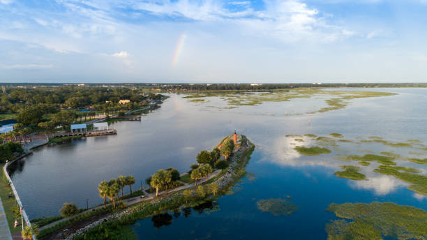 lakefront kissimmee drone aerial view - kissimmee stock photos and pictures