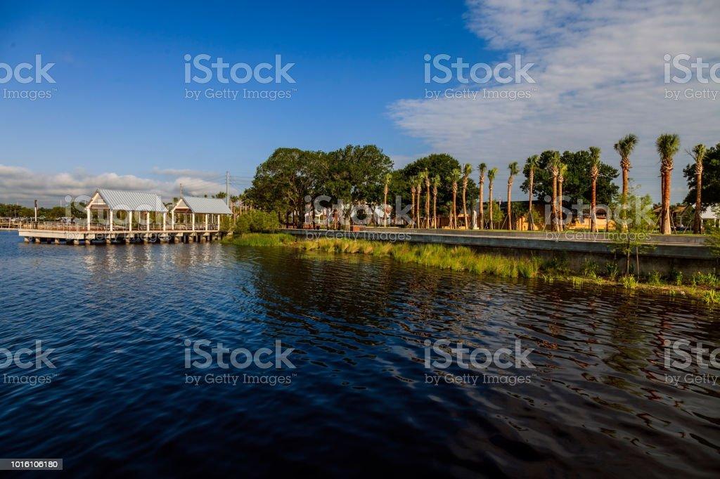 Lakefront Park overlooking Lake 'Toho' in Kissimmee, Florida stock photo