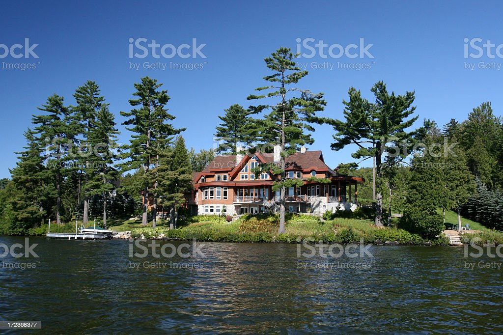 Lakefront Property on Sunny Day of Summer stock photo