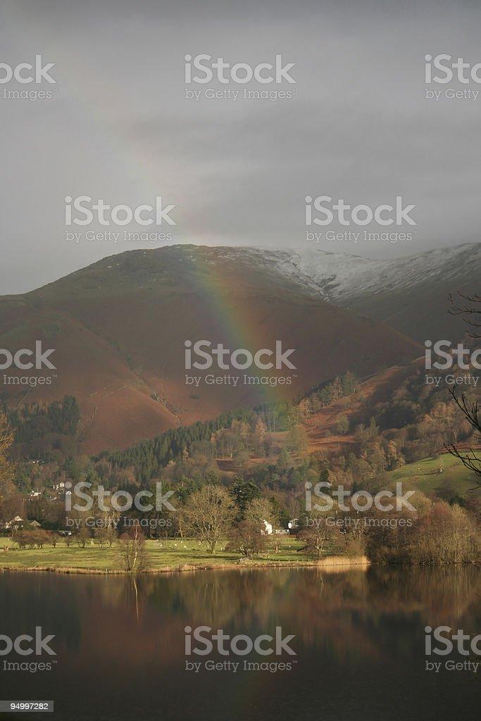 Lakeland landscape with rainbow royalty-free stock photo