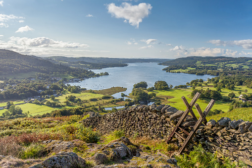 Lakeland View of Windermere from Loughrigg Fell.