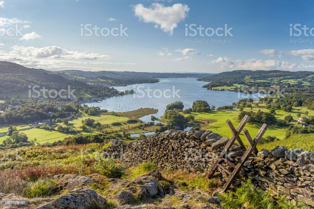 Lakeland View of Windermere from Loughrigg Fell. stock photo