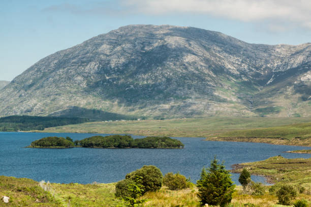 Lakes and trees with beautiful weather in Connemara national park stock photo