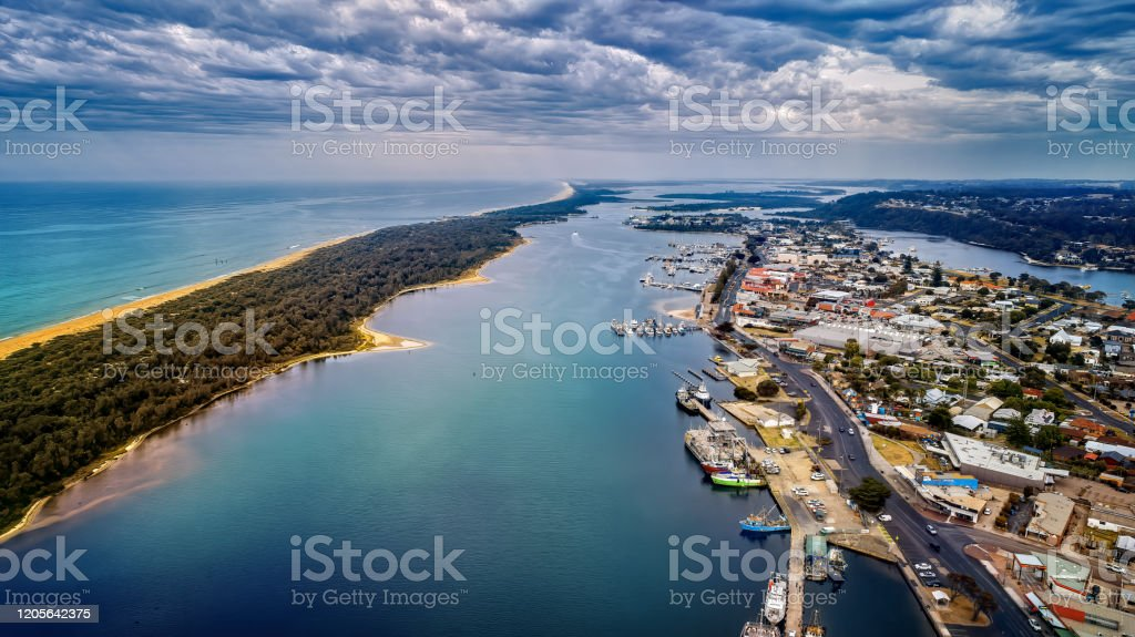 Lakes Entrance in the Gippsland Lakes - Royalty-free Aerial View Stock Photo