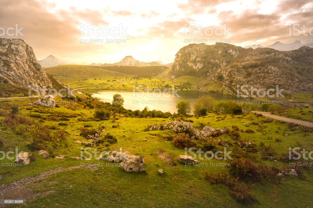 Lakes of Covadonga (Asturias, Spain). stock photo