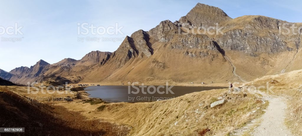 Lakes Ritom, Cadagno, Tom in the autumn stock photo