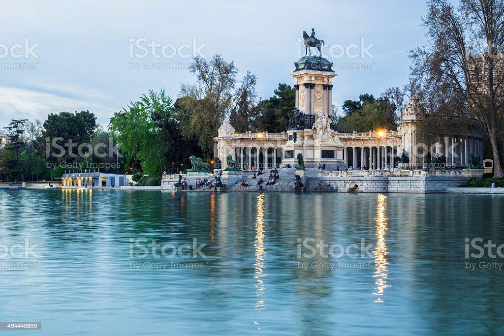 lake's view in retiro central park in madrid stock photo