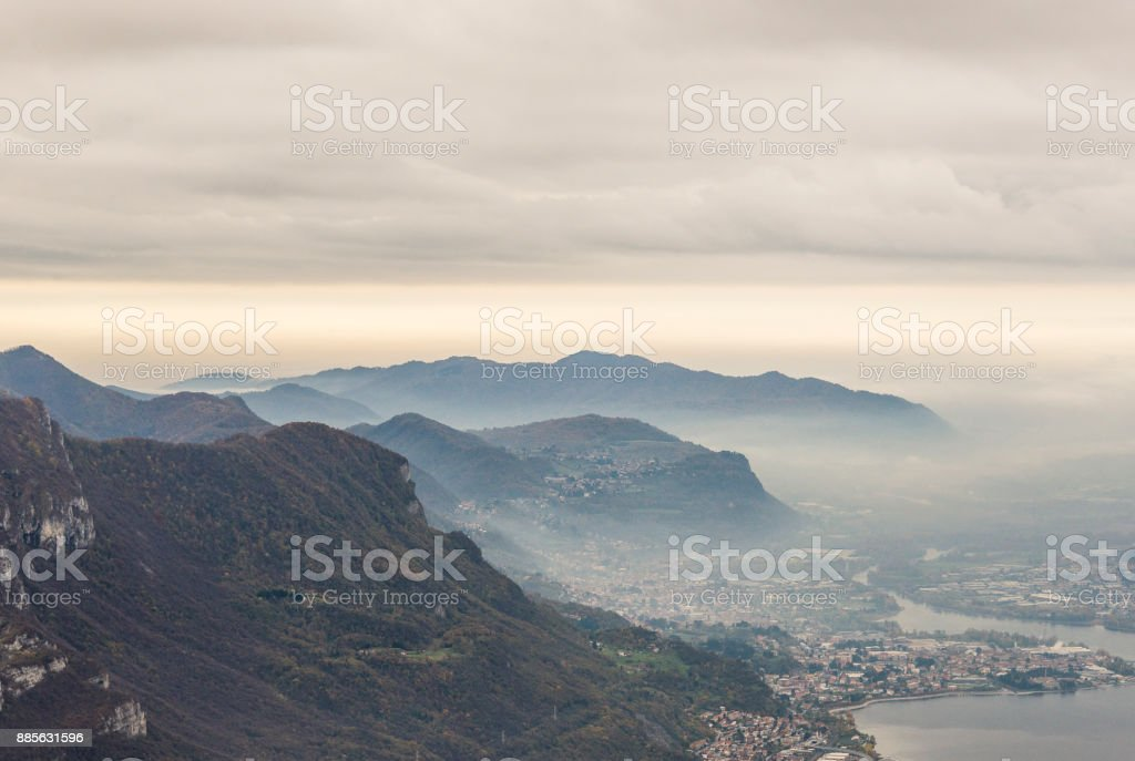 Lakes views from il Piano dei Resinelli stock photo