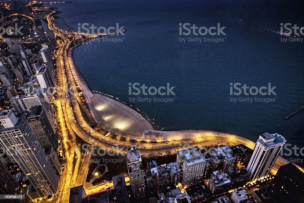 Lakeshore Drive at night from above, Chicago stock photo
