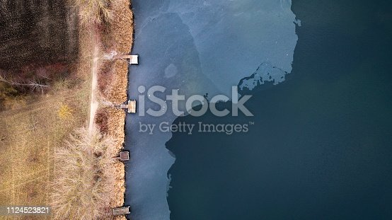 Lakeside aerial view - partially frozen