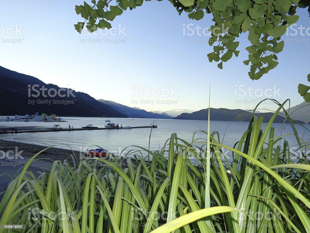 Lakeside at dusk - British Columbia stock photo