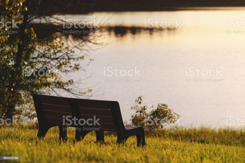 Lakeside Bench at Sunset royalty-free stock photo
