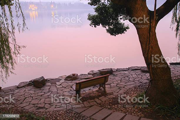 Photo of Lakeside bench in sunset