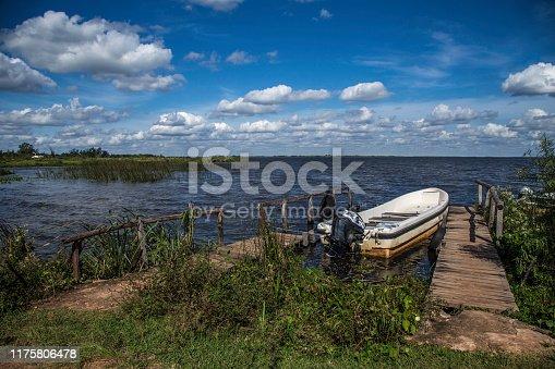 lakeside boat at Colonia Carlos Pellegrini in Esteros Del Iberá in Argentina