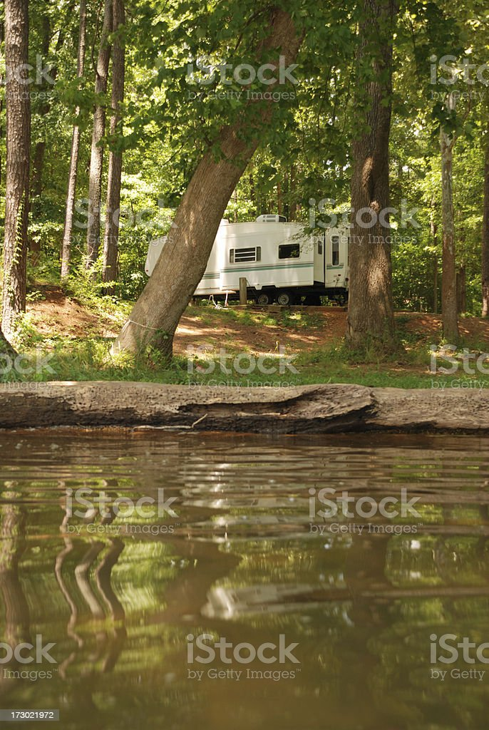 Lakeside Camping stock photo