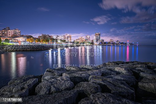 Burlington, Ontario / Canada - October 13, 2019: Looking out over Lake Ontario at the Burlington, Ontario skyline at night.