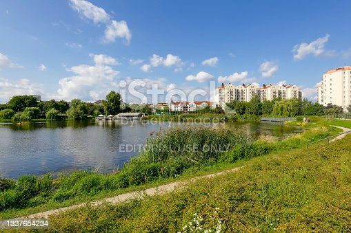istock Lakeside cityscape on a sunny day in Goclaw housing district 1337654234