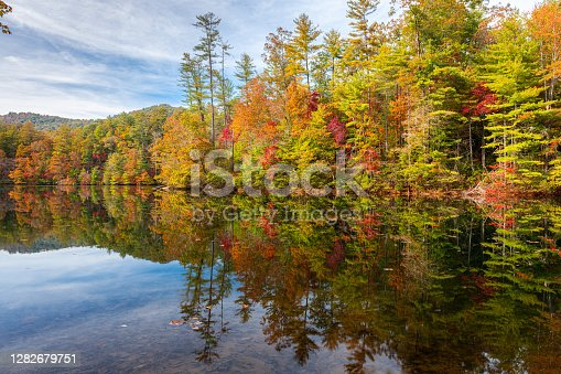 Lakeside fall foliage at Santeetlah Lake, North Carolina, USA.