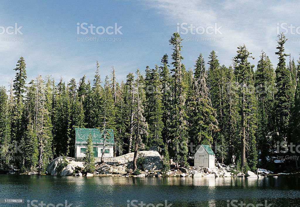 Lakeside mountain cabins royalty-free stock photo