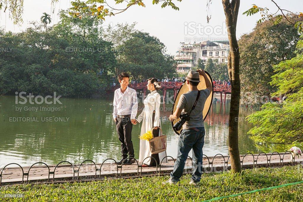 Lakeside photo shoot. stock photo