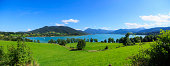 panoramic mountain view with sailboat on the lakesee my