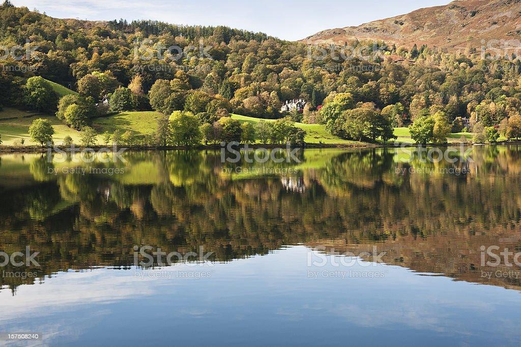 Lakeside Reflection Grasmere Cumbria stock photo